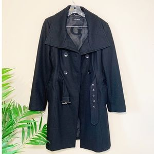 Guess Wool Blend Double Breasted Belted Peacoat L